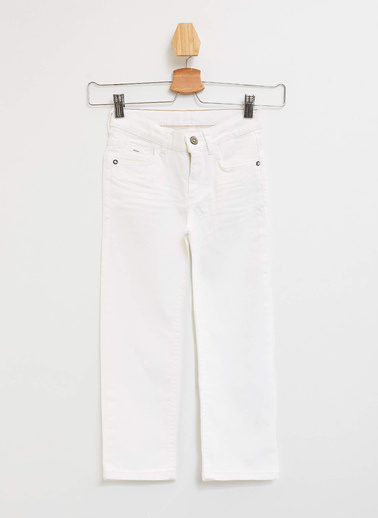 DeFacto Slim Fit Dokuma Pantolon Beyaz